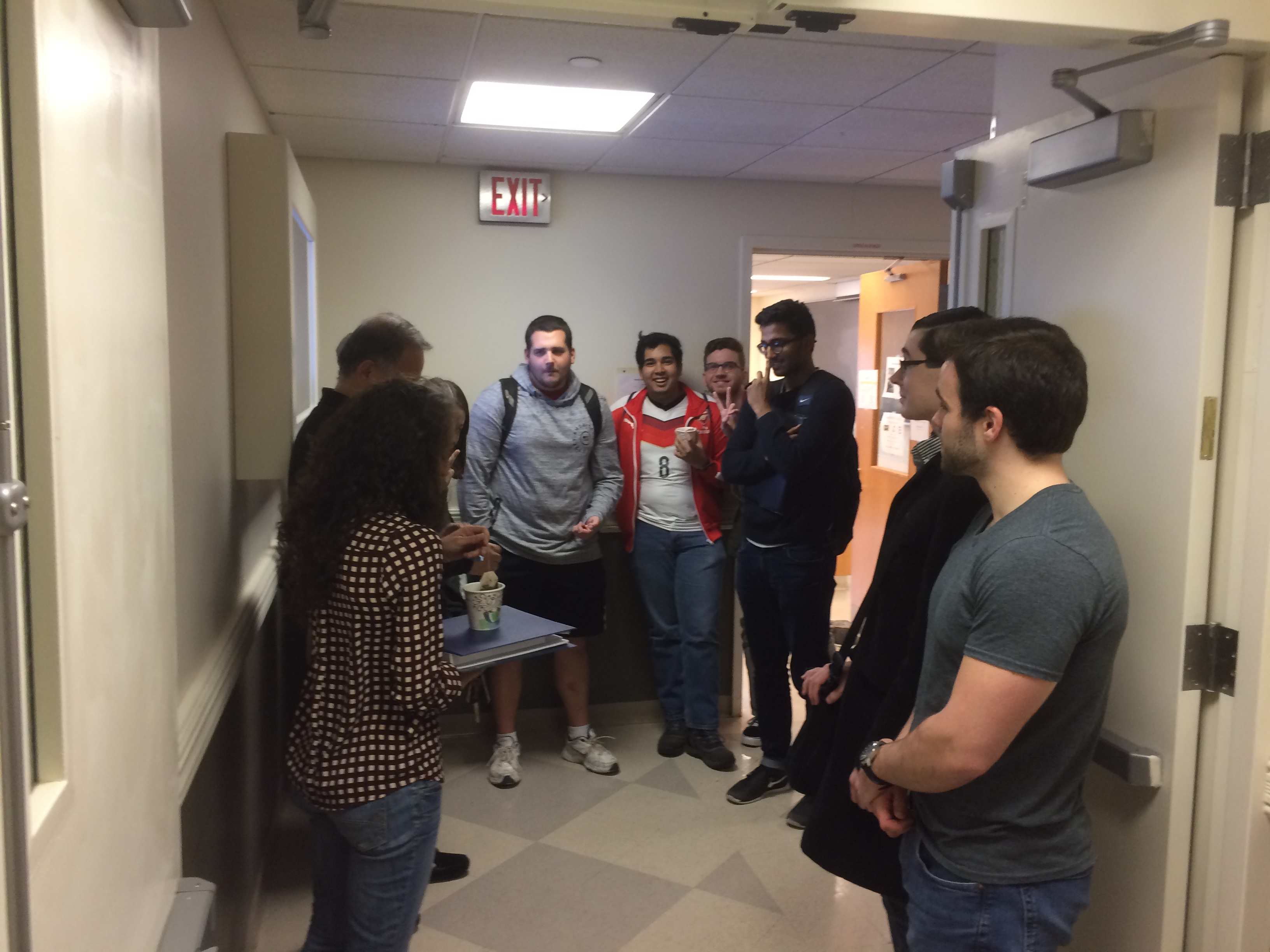 Students waiting outside class